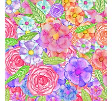 Pretty Hand Painted Watercolor Floral Collage Photographic Print