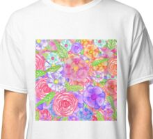 Pretty Hand Painted Watercolor Floral Collage Classic T-Shirt