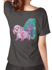 Half cute dog & half squirrel (pink+turquois) Women's Relaxed Fit T-Shirt