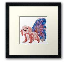 Half cute dog & half squirrel (pink+blue) Framed Print