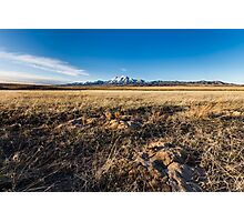 Grassland with mountain background Photographic Print