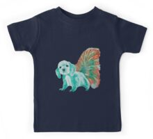 Half cute dog & half squirrel (turpuoise+red) Kids Tee