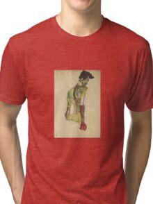 Egon Shiele - Male Nude In Profile Facing Right Tri-blend T-Shirt