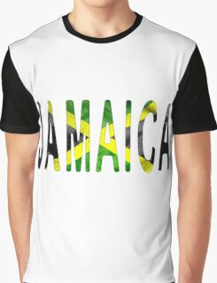 Jamaica Word With Flag Texture Graphic T-Shirt