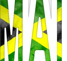 Jamaica Word With Flag Texture Sticker