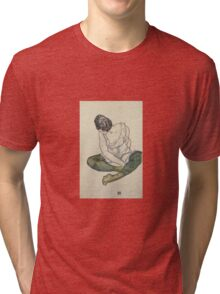 Egon Shiele - Seated Woman With Green Stockings Tri-blend T-Shirt