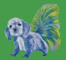 Half cute dog & half squirrel (blue+yellow) One Piece - Short Sleeve