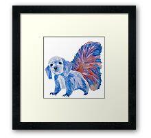 Half cute dog & half squirrel (blue+red) Framed Print