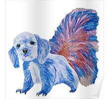 Half cute dog & half squirrel (blue+red) Poster