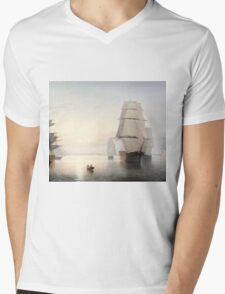 Fitz Henry Lane - Boston Harbor Sunset  Mens V-Neck T-Shirt