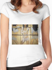 Boxing girl dangerous sexy hot original oil painting on 3 canvases  Women's Fitted Scoop T-Shirt