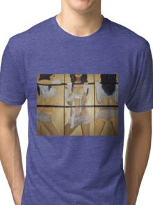 Boxing girl dangerous sexy hot original oil painting on 3 canvases  Tri-blend T-Shirt