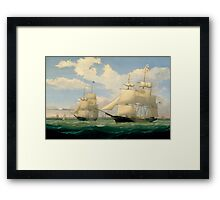 Fitz Henry Lane - The Ships Winged Arrow And Southern Cross In Boston Harbor  Framed Print