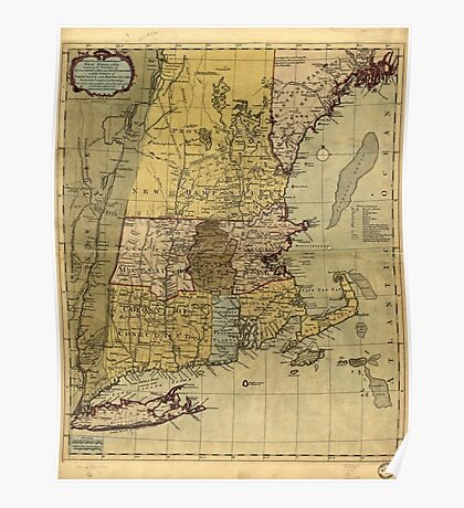 American Revolutionary War Era Maps 1750-1786 100 A map of the most inhabited part of New England containing the provinces of Massachusets Bay and New Poster