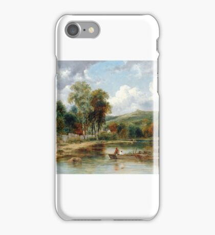 Frederick Waters Watts - River Landscape with Two Boys in a Boat Fishing iPhone Case/Skin