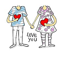 Cartoon couple Photographic Print