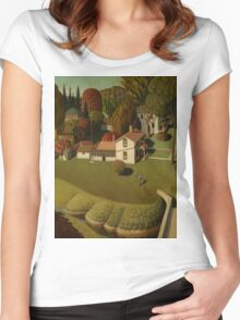 Grant Wood - Birthplace Of Herbert Hoover. Landscape Women's Fitted Scoop T-Shirt