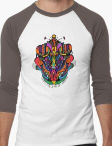 Loudly Colored Psychedelic Mask Men's Baseball ¾ T-Shirt