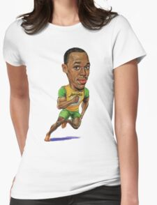 Usain Bolt Running Drawing  Womens Fitted T-Shirt