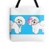 Bichons on turquoise Tote Bag