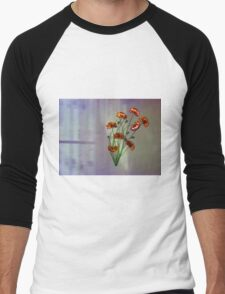 Wall flower with textured colour background Men's Baseball ¾ T-Shirt
