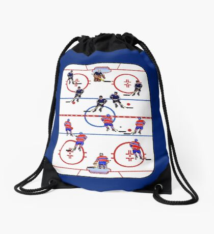 Pixel Art Hockey Rink Drawstring Bag