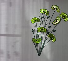 Wall Flowers Green on texture background by Robert Gipson