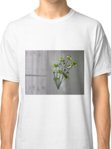 Wall Flowers Green on texture background Classic T-Shirt