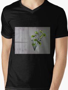 Wall Flowers Green on texture background Mens V-Neck T-Shirt