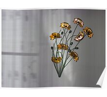 Wall flowers gold with textured colour background Poster