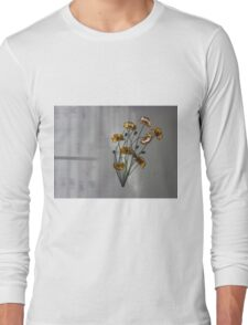 Wall flowers gold with textured colour background Long Sleeve T-Shirt