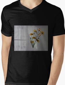 Wall flowers gold with textured colour background Mens V-Neck T-Shirt