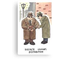 Discrete Uniform Distribution - Maths Pun Watercolour Card Canvas Print