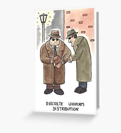 Discrete Uniform Distribution - Maths Pun Watercolour Card Greeting Card