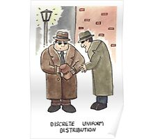 Discrete Uniform Distribution - Maths Pun Watercolour Card Poster