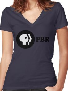 PBR (PBS Parody) Women's Fitted V-Neck T-Shirt