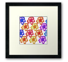 Colorful Tropical Watercolor Hibiscus Flowers Framed Print
