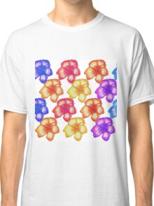 Colorful Tropical Watercolor Hibiscus Flowers Classic T-Shirt