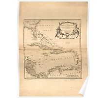 American Revolutionary War Era Maps 1750-1786 954 The West Indies exhibiting the English French Spanish Dutch & Danish settlements Poster