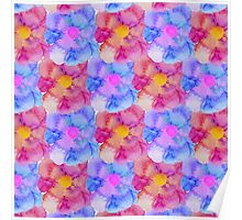 Artsy Pink Blue and Purple Watercolor Flowers Poster