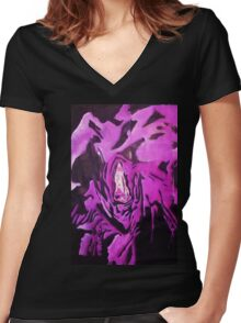 Grim Reaper Graphic Women's Fitted V-Neck T-Shirt