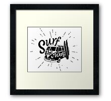 Surf the wave retro style Framed Print