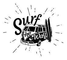 Surf the wave retro style Photographic Print