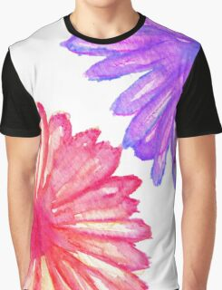 Pretty Pink and Purple Hand Painted Flowers Graphic T-Shirt