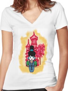 chien po momiji  Women's Fitted V-Neck T-Shirt