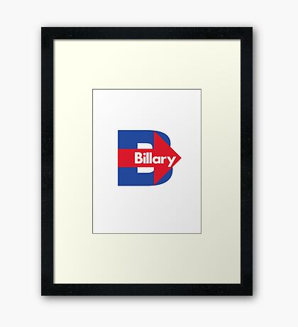 Hillary / Billary Logo Parody Framed Print