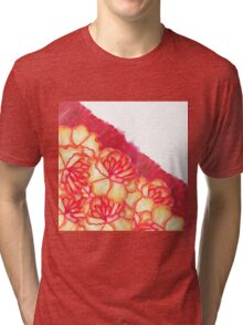 Peach and Red Hand Panted Flowers and Brushstrokes Tri-blend T-Shirt