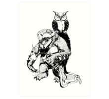 Snapping Turtle and Owl Art Print