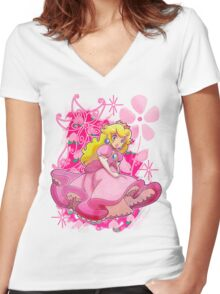 Flowery Princess Peach Women's Fitted V-Neck T-Shirt