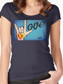 Love Sign Language Art Women's Fitted Scoop T-Shirt
